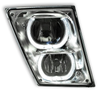 Fog Lamp for Volvo VN / VNL 03+ with Amber/White LED Light Bar and Chrome Reflector