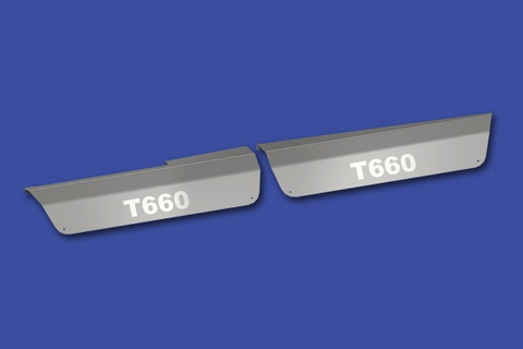 Stainless Steel 304 Front Upper Step Kick Panel With Logo For Kenworth T660 2010+ (Sold in Pairs)