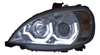 Chrome Reflector Projector Headlight with LED Light Bar fits Freightliner Columbia