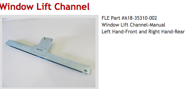 """WINDOW CHANNEL , LH FREIGHTLINER COLUMBIA """"Mechanical system"""