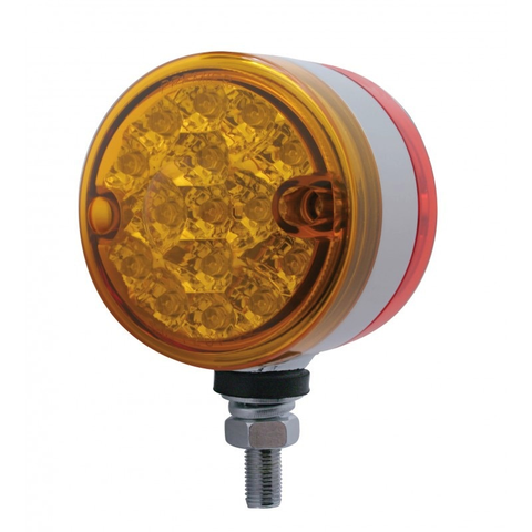"15 Led 3"" Dual Function Reflector Double Face Light - Amber & Red Led/Amber & Red Lens"