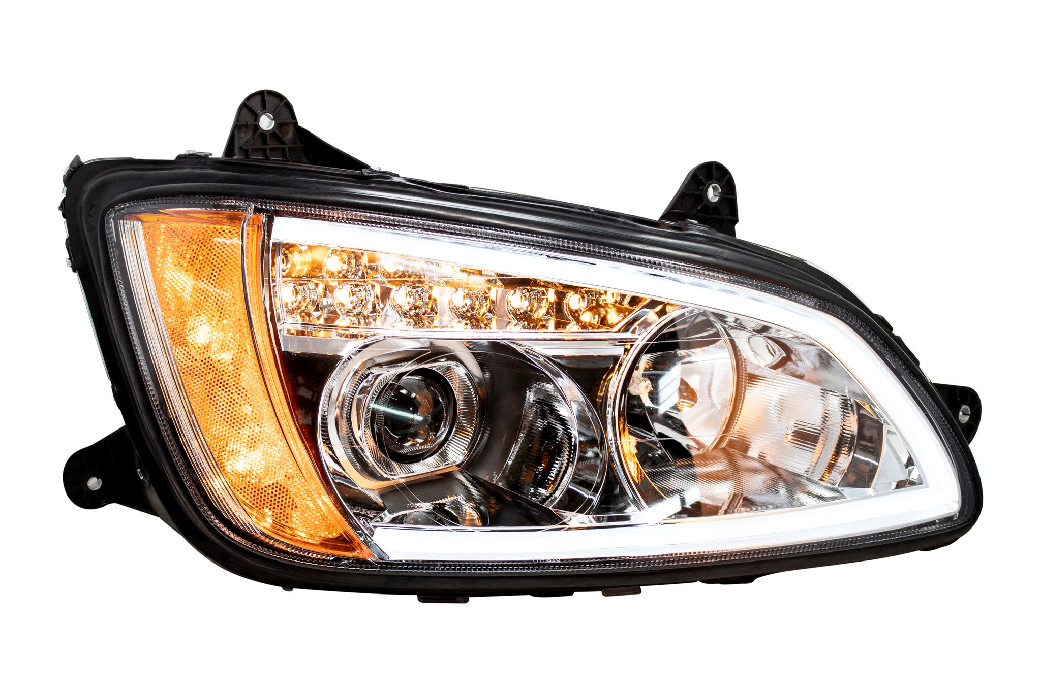Headlight With Black Reflector with Light Bar (Amber / White