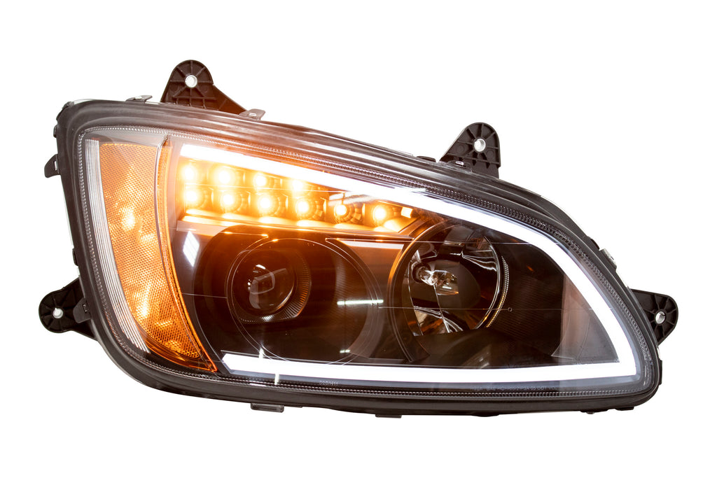 headlight with black reflector with light bar (amber / white leds) for  kenworth t370