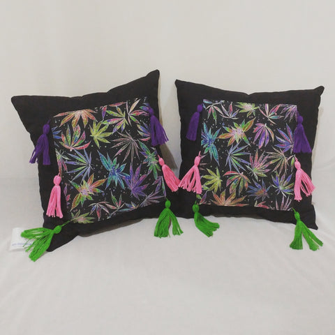 Neon Cannabis Print Pillows