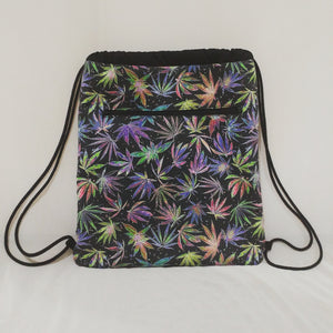 Neon Leaf Print Drawstring Backpack