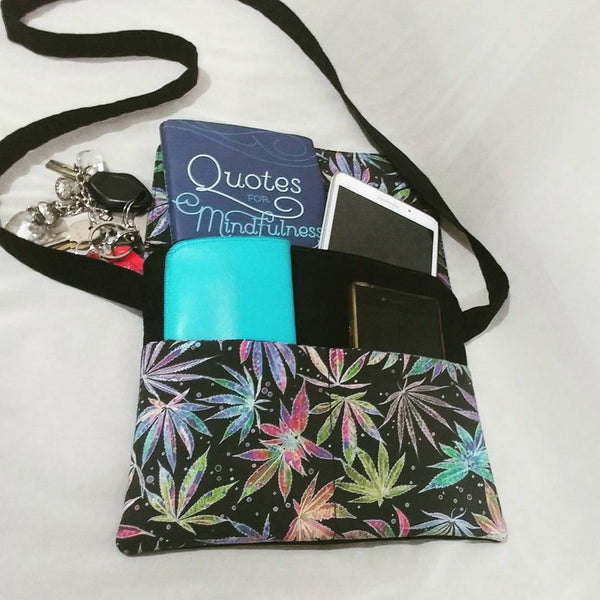 Neon Leaf Print Mini Messenger Bag