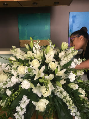 Elegant Casket Spray Floral Display