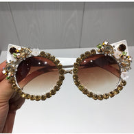 Golden Floral Luxurious White Cat Eye Sunglasses