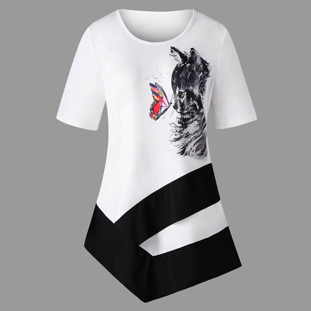 Butterfly & Cat Short Sleeve Asymmetrical Shirt - Plus Size