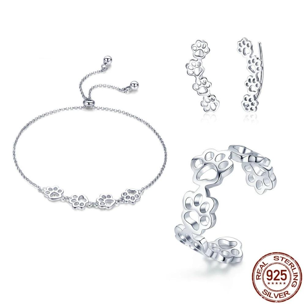 Unique Cat Paws Footprints Jewelry Set - 925 Sterling Silver