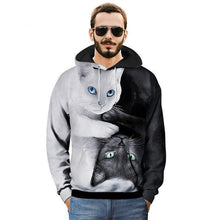 Black and White Yin Yang Cat 3D Pullover Hoodie