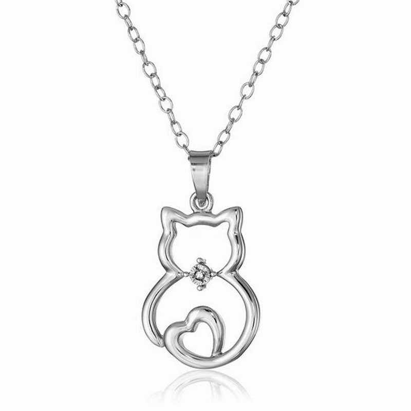 My Heart Cat Pendant Necklace