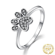 Sparkling Bright Cat Paw Ring - 925 Sterling Silver Pendant
