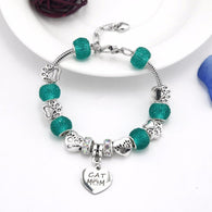 Luxury Heart Charm Bracelets - Cat Mom & Dog Mom Pendant