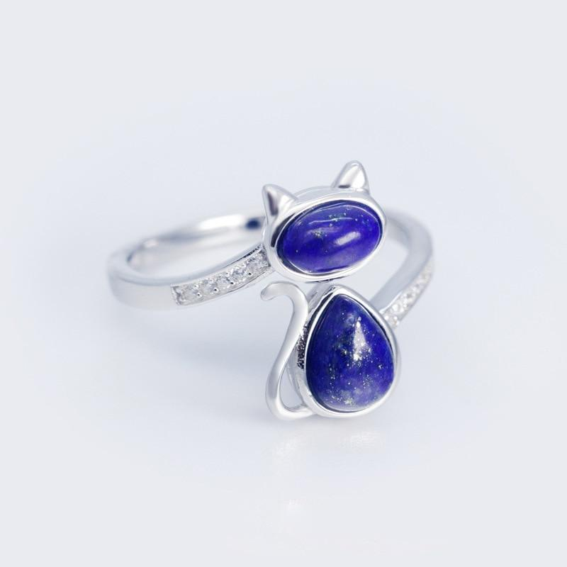 Lapis Lazuli Blue Stone Solid 925 Sterling Silver Cat Ring - Resizable