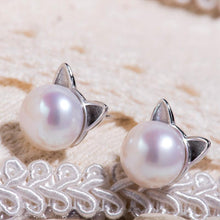 Freshwater Cultured Pearl Sterling Silver Cat Ears Stud Earrings