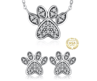 Sparkling Bright Cat Paw Jewelry Set - 925 Sterling Silver Pendant