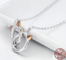 Infinity Cat Face Link Pendant Necklace - 925 Sterling Silver