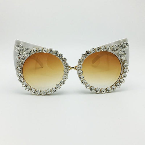 White Luxurious Cat Eye Sunglasses
