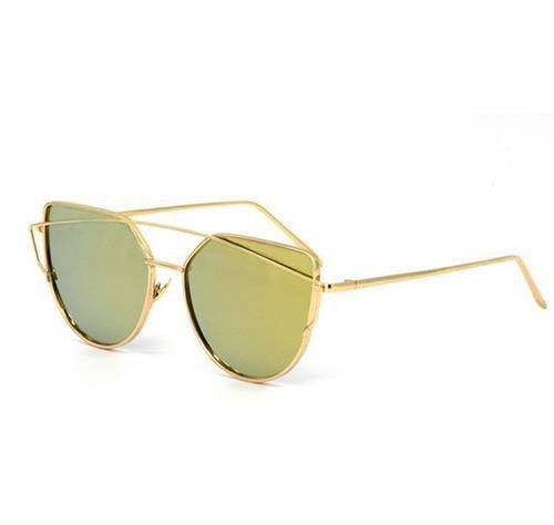 2019 Cat Wear Vintage Mirror Cat Eye Sunglasses For Women - Metal Reflective Flat Lens