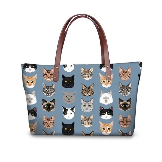 Cat Wear -Colorful Cat Face Print Large Messenger Bag & Wallets