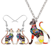 Majestic Cat Necklace and Earrings Set