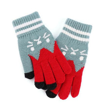 Purrfectly Knitted Full Finger Mittens Cat Face Gloves
