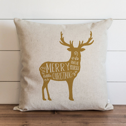 Deer_Have Yourself A Merry Little Christmas_Gold Pillow Cover. - Porter Lane Home