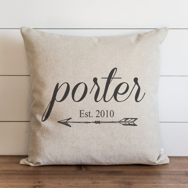 Custom Last Name Est Date Pillow Cover. - Porter Lane Home