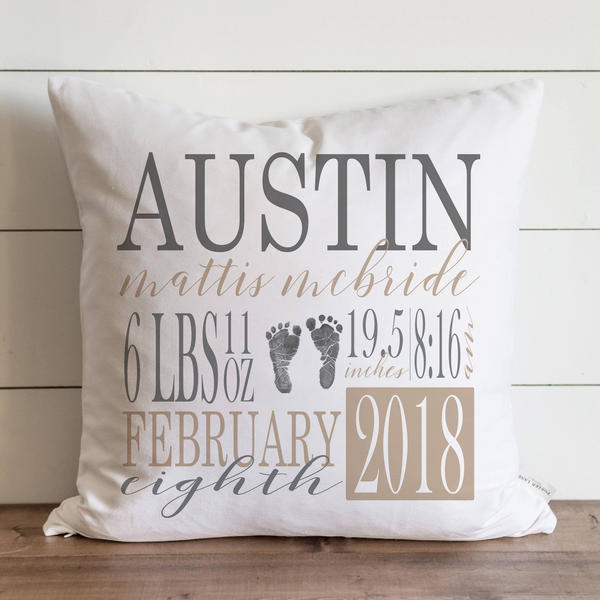 Baby Stat Pillow Cover {Gray and Beige Font}. - Porter Lane Home
