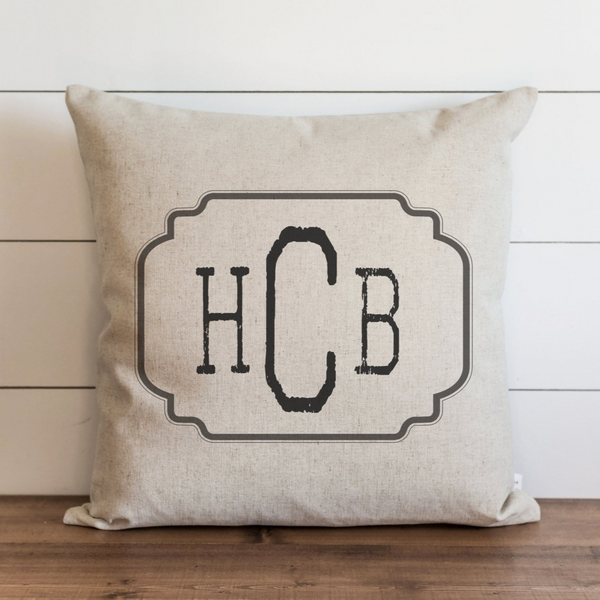 Framed Initials Pillow Cover. - Porter Lane Home
