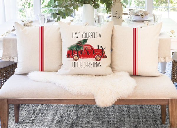 SET OF 3 Pillow Covers {Red Grain Stripe} | Your choice of design! - Porter Lane Home