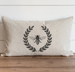 Vintage Bee Laurel Wreath Pillow Cover.