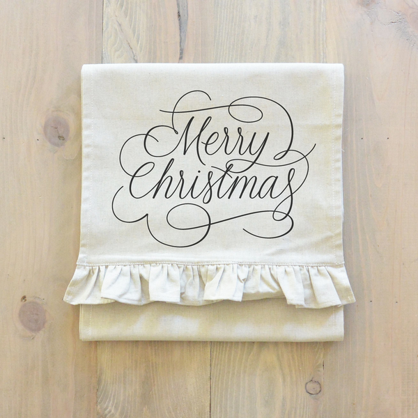Merry Christmas Script Table Runner - Porter Lane Home