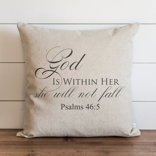 God Is Within Her Pillow Cover. - Porter Lane Home
