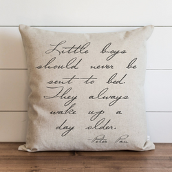 Little Boys Should Never Be Sent To Bed Pillow Cover. - Porter Lane Home