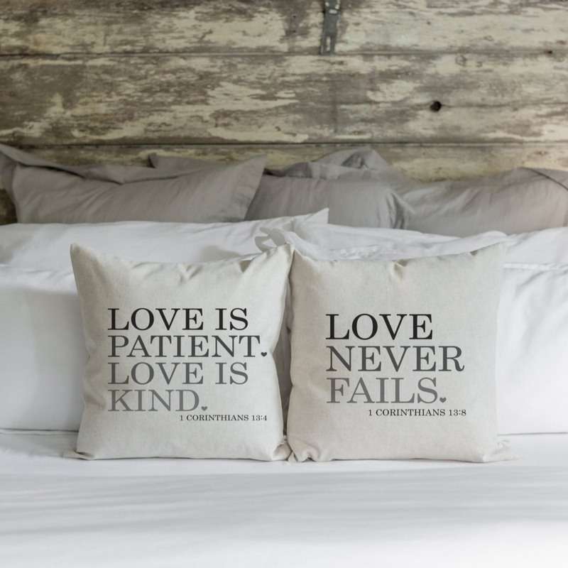 Love is Patient | Love is Kind | Love Never Fails Pillow Cover SET. - Porter Lane Home