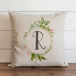 Floral Monogram Pillow Cover - Porter Lane Home