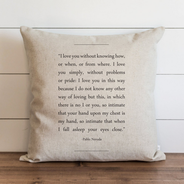 Book Collection_Pablo Neruda Pillow Cover. - Porter Lane Home