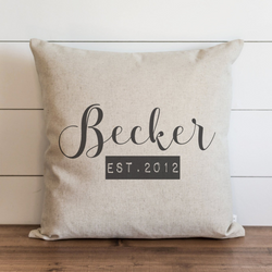 Custom Name Est. Date Pillow Cover. - Porter Lane Home