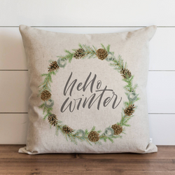 Hello Winter Wreath Pillow Cover. - Porter Lane Home