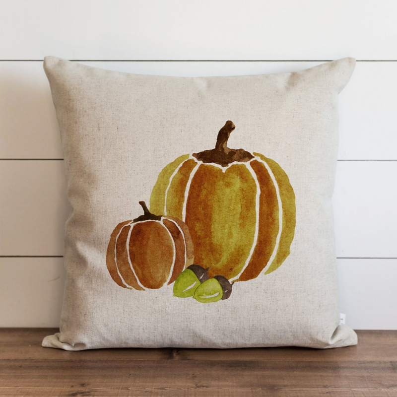 Watercolor Pumpkins Pillow Cover {Amber}.