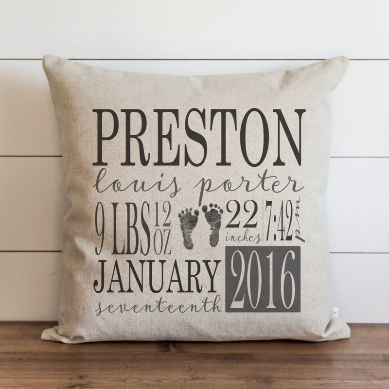 Birth Announcement Pillow Cover. - Porter Lane Home