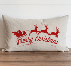 Merry Christmas Santa & Sleigh_Color Pillow Cover. - Porter Lane Home