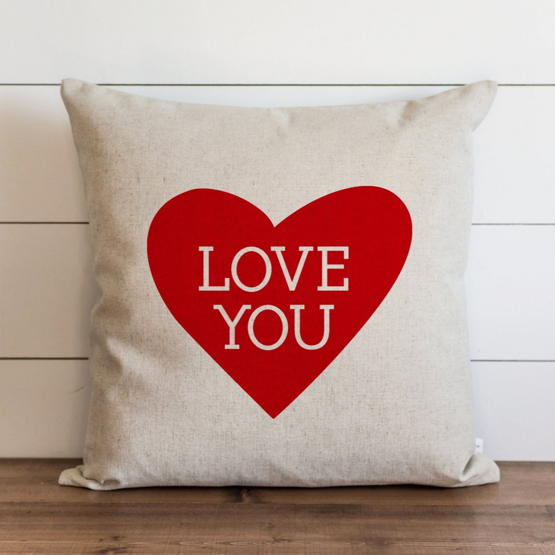 Love You {Red Heart} Pillow Cover. - Porter Lane Home