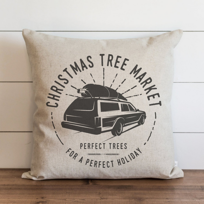 Christmas Tree Market Pillow Cover. - Porter Lane Home