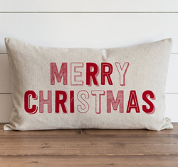 Merry Christmas_Red Pillow Cover. - Porter Lane Home