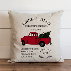 Green Hills Christmas Tree Co Pillow Cover. - Porter Lane Home