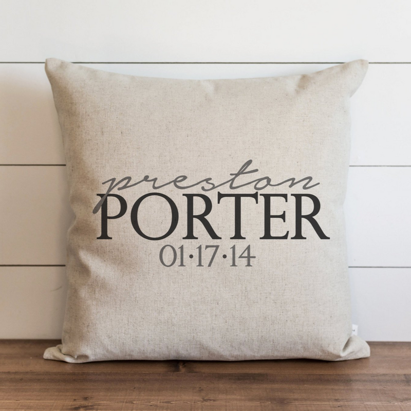 Custom_Baby Name and Birth Date Pillow Cover. - Porter Lane Home