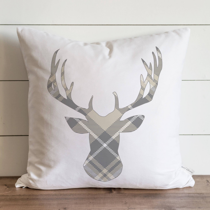 Gray & Cream Plaid Deer Pillow Cover. - Porter Lane Home
